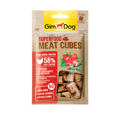 Snacks GimDog Cubes de pollo con arándanos y romero 40 gr