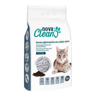 Areia Aglomerante Nova Clean Ultra Carvão 10L para gato