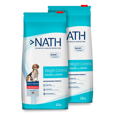 Pienso para perros Nath Adult Weight Control Medium/Maxi - 2 x 12 kg