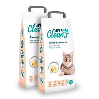 Areia Aglomerante Nova Clean 10 L Marselha para gato - 2x10 L Pack Poupança