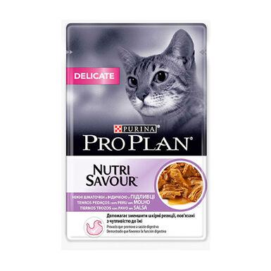 Pack 24 x 85 gr Purina Pro Plan NutriSavour Delicate Feline saqueta peru em molho