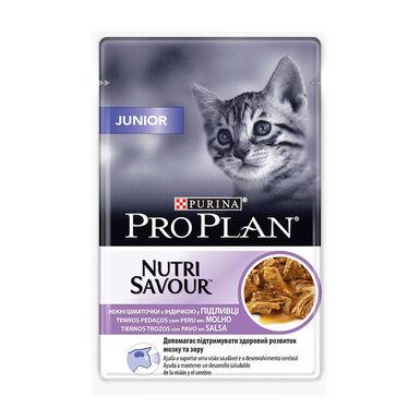 Pack 26 x 85 gr Purina Pro Plan NutriSavour Feline Junior saqueta peru em molho