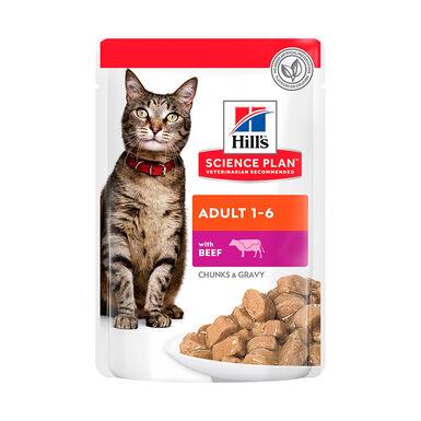 Pack 12 saquetas Hill's Science Plan Feline Adult ternera 85 gr