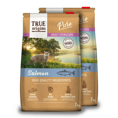 True Origins Pure Cat Adult Sterilised Salmão - 2x7kg Pack Poupança