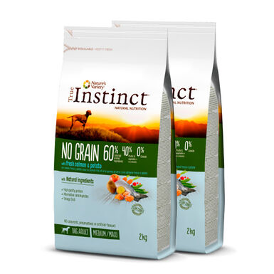 True Instinct Medium/Maxi Adult No Grain con salmão - 2x12 kg Pack Poupança