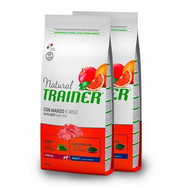 Trainer Natural Adult Medium Vitela, Arroz e Ginseng - 2x12 kg Pack Poupança