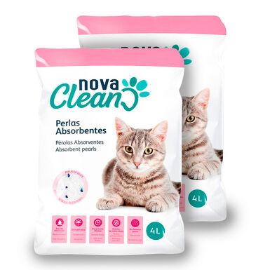 Pérolas absorventes Nova Clean para Gatos - 2x4 L Pack Poupança