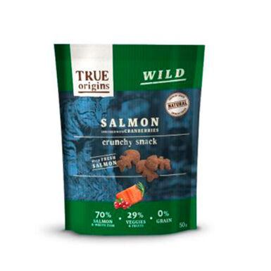 True Origins Snacks para gato salmão e mirtilos