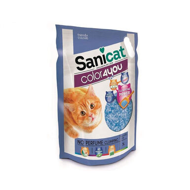 Areia de sílica aglomerante Sanicat Color4you Azul 5 L