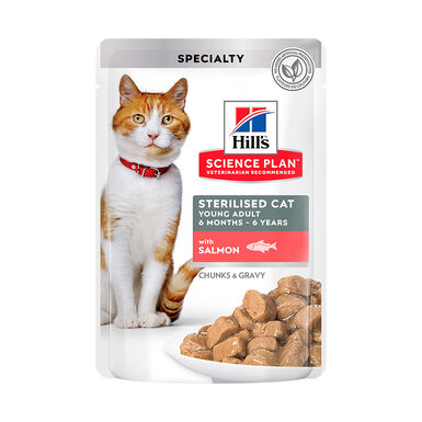 Pack 12 Saquetas Hill's Feline Bolsitas Sterilized salmão 85 g