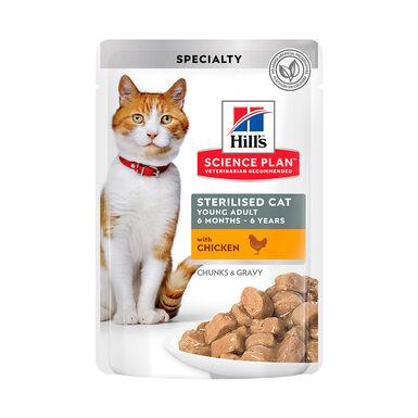 Pack 12 Saquetas Hill's Feline Bolsitas Sterilized frango 85 g
