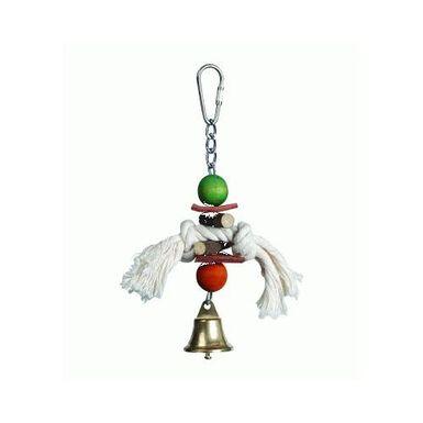 Spucky madera y cuero juguete para pájaros