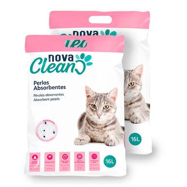 Pérolas absorventes Nova Clean para Gatos - 2x16 L Pack Poupança