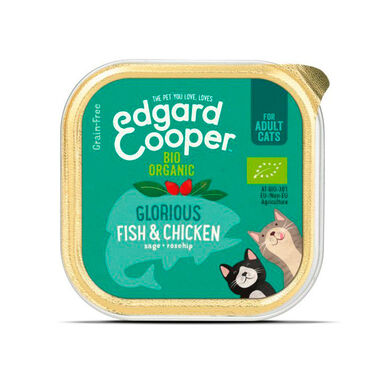 Tarrina Edgard & Cooper pescado y pollo bio para gato 85 gr