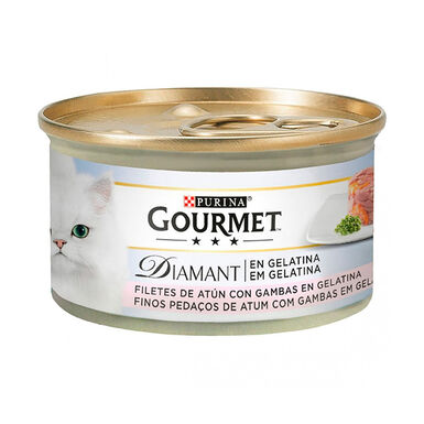 Pack 24 Latas Gourmet Diamant Feline lâminas atum gelatina e gambas 85 g