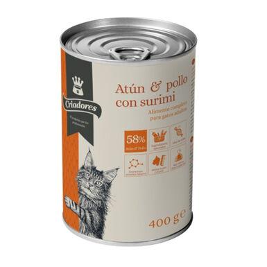 Criadores comida húmida atum e frango para gatos