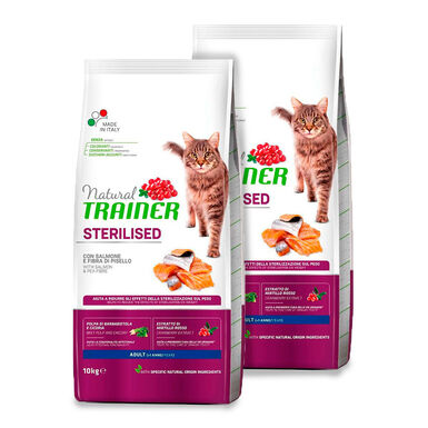 Pienso para gatos Natural Trainer Cat Adult Sterilised Salmón - 2 x 10 kg