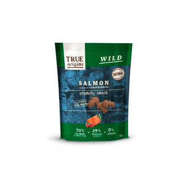 True Origins Snacks para gato salmão e mirtilos