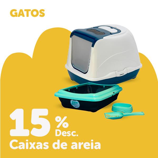 15% de desconto em caixas de areia para gato
