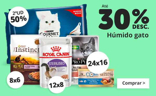 Até 30% em comida húmida gato