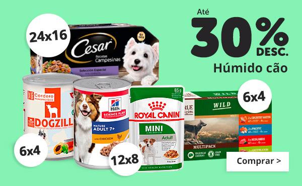 Até 30% em comida húmida cão