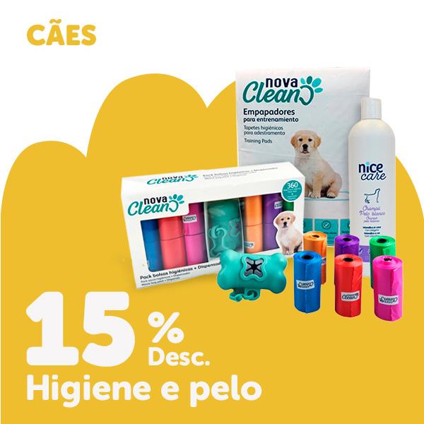 15% de desconto em seleção de produtos de higiene para cão