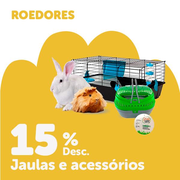15% de desconto em gaiolas e seleção de acessórios para roedores