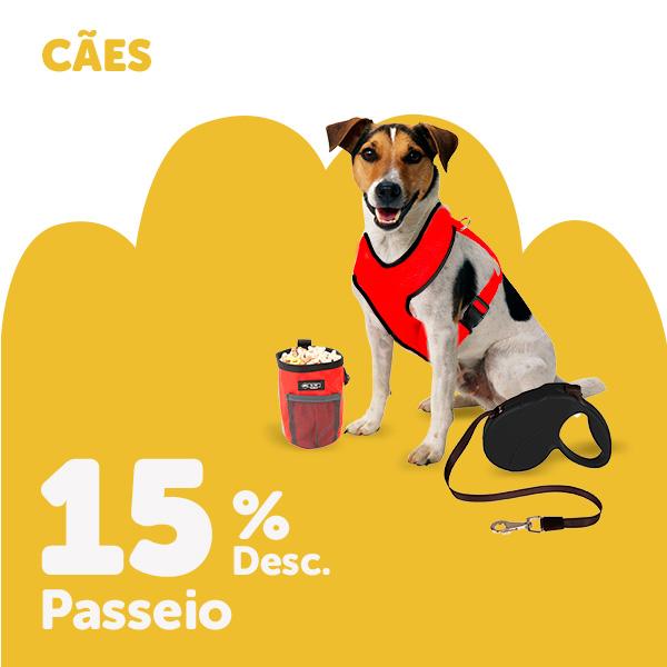 15% de desconto em seleção de acessórios de passeio e roupa para cão