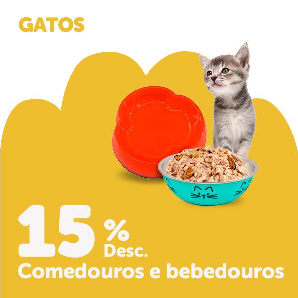 15% de desconto em comedouros e bebedouros para gato