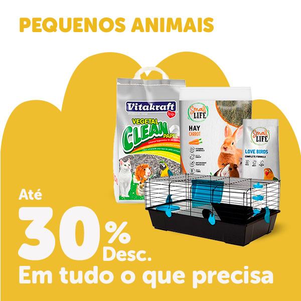 até 30% em pequenos animais