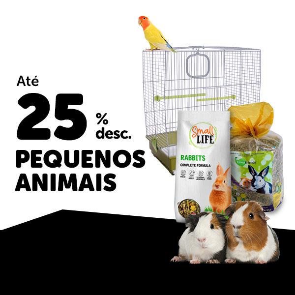 até 25% em pequenos animais