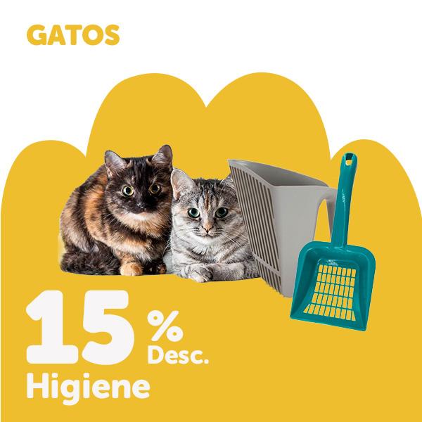 15% de desconto em seleção de produtos de higiene para gato