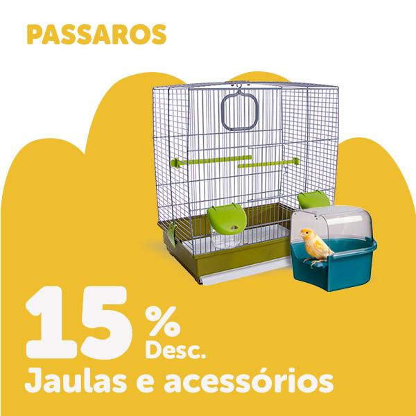 15% de desconto em gaiolas e seleção de acessórios para pássaros