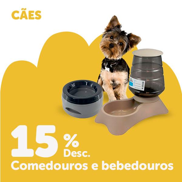 15% de desconto em comedouros e bebedouros para cão