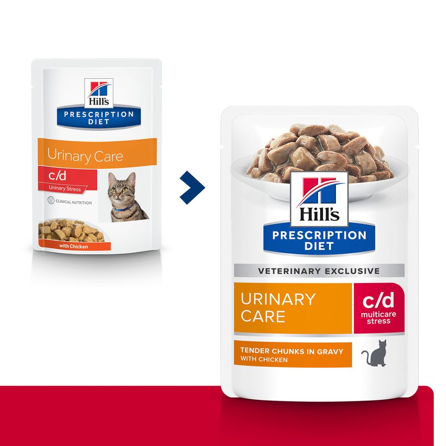 Pack 12 Saquetas Hill's Feline Prescription Diet c/d Urinary Stress frango 85 g, , large image number null